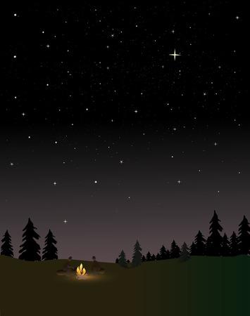 incendio bosco: La gente attorno a un fuoco di notte sotto le stelle Vettoriali