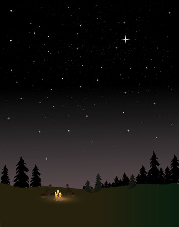 People around a campfire at night under the stars