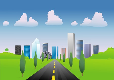Road leading into the city on a bright, almost clear day with blue skies Illustration