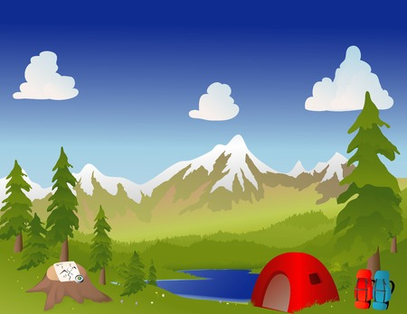 Camping in the mountains with a tent, backpacks, compass and map