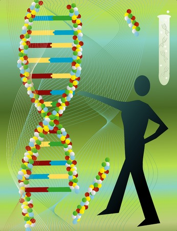 genetics: A man reaching out to a strand of DNA abstract Illustration