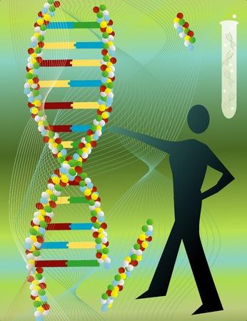 Een man die bereiken uit om een onderdeel van de DNA-samenvatting