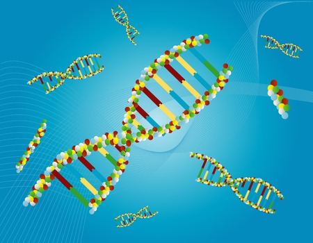 DNA molecules drifting in a blue abstract background