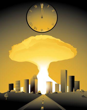 核爆弾をオフに行く市の時計が真夜中を打つと終末 写真素材