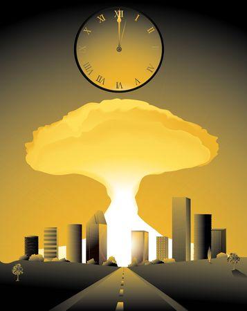 doomsday, with a nuclear bomb going off in a city and clock striking midnight Stock Photo - 2365524