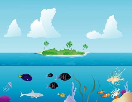 Various tropical fish swimming around on a reef and a tropical island in the background