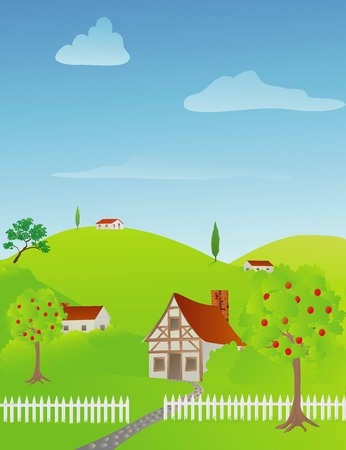 Rural spring scene with cottages and houses Stock Illustratie