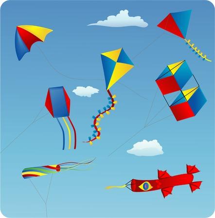 vector illustratie van de verschillende vliegers in de blauwe hemel