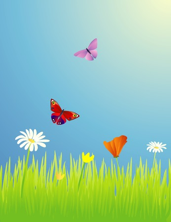 Butterflies in a spring meadow with wildflowers Vector