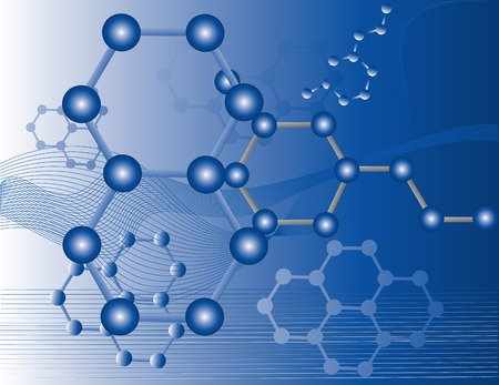 atomic energy: Abstract illustration of organic molecules with a blue background Illustration