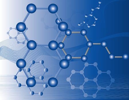 Ilustración abstracta de moléculas orgánicas con un fondo azul Ilustración de vector