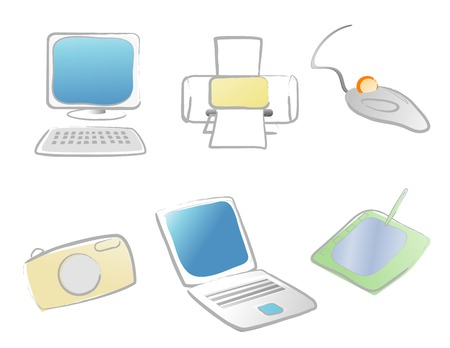 technology icon set featuring various computer objects