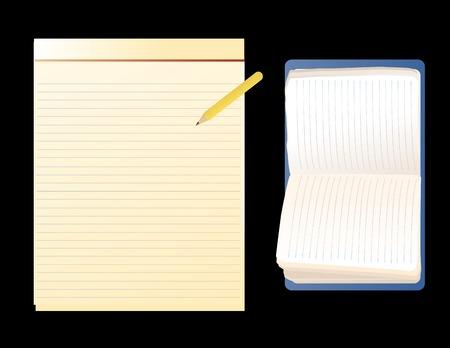vector afbeelding van gemeenschappelijke notitieblokken op een zwarte achtergrond