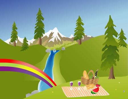 Picknick in de bergen met een regenboog door een waterval Stock Illustratie