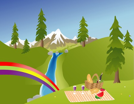 snowcapped mountain: Picnic in the mountains with a rainbow by a waterfall Illustration