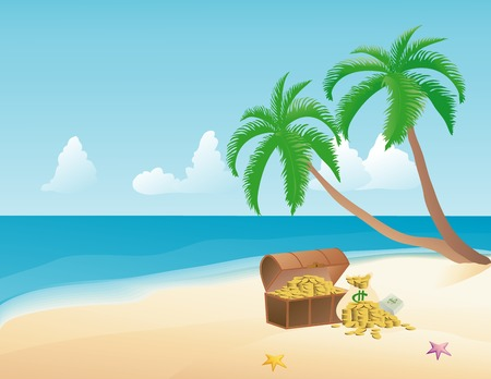 Pirate treasure on a tropical beach with palm trees Illustration