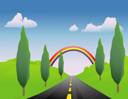 Spring road with a rainbow at the end