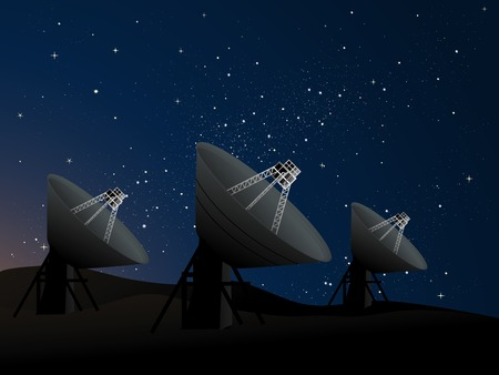 clues: Radio dish telescopes pointing up into the night sky looking for clues to the secrets of the universe, and possibly intelligent alien life