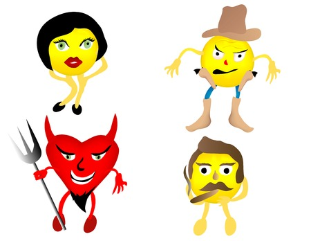 Various smiley face characters, cowboy, woman, devil, and guy smoking a cigar