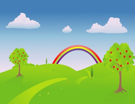 the end of a rainbow: Trail por el campo en primavera con un arco iris al final