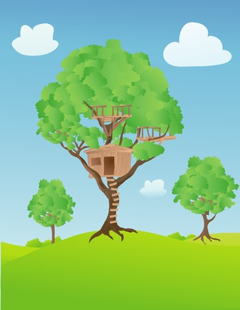 Treehouse in the countryside on a sunny day with a few clouds in the sky
