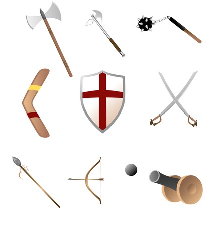 various medival and ancient weapons Vector