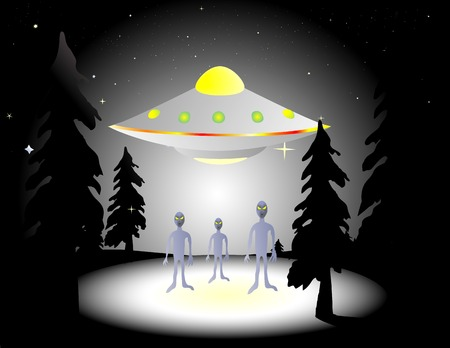 Illustration of aliens and flying saucer in the woods at night