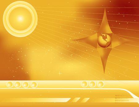 Gouden abstract van het heelal met bedienings paneel