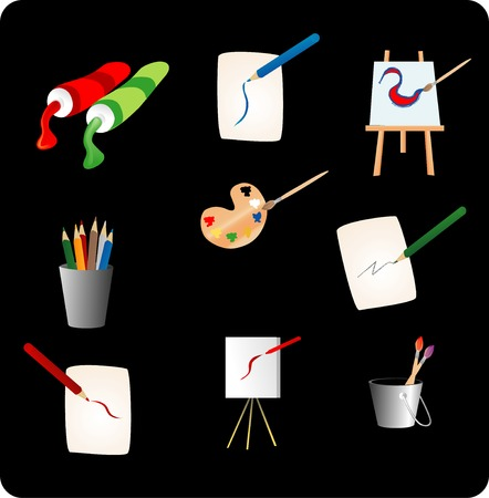 Various objects used to make paintings and drawings