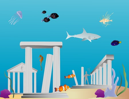 Vectoir based cartoon illustration of the ruins of and ancient underwater city