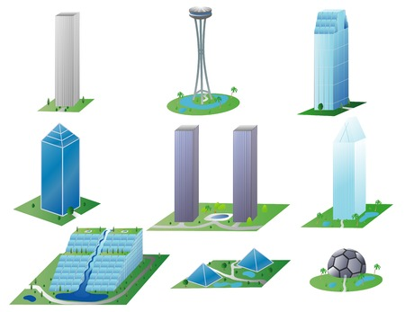 Illustration of various modern urban buildings