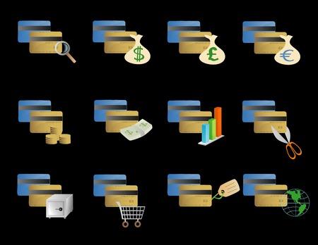 様々 なクレジット カードのアイコンのベクトル ベースの図