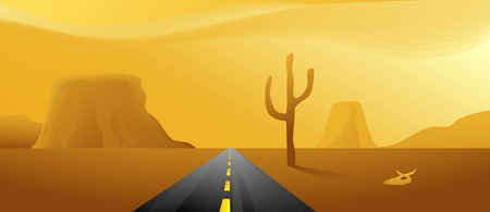 Vector based illustration of a road through the desert Vector