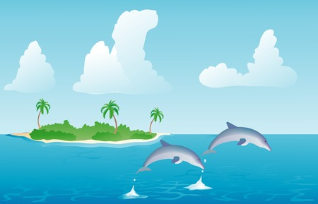 pair of dolphins jumping out of the water illustration Vector