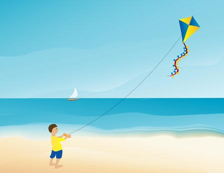 windy day: Vector illustration of a boy flying a kite on the beach