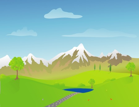 Foothills and mountains on a spring day Vector