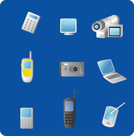 Vector based illustration of various electronic gadgets isolated on a blue background