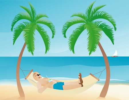 between: Vector illustration of a man resting on a hammock