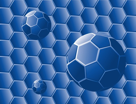 Vector illustration of an absstract with blue geometric shapes and spheres