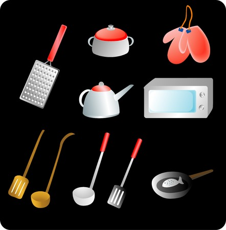 vector illustration of red Kitchen utensils and a black background Ilustração