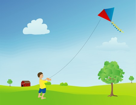 Vector based illustration of a boy flying a kite in an open field