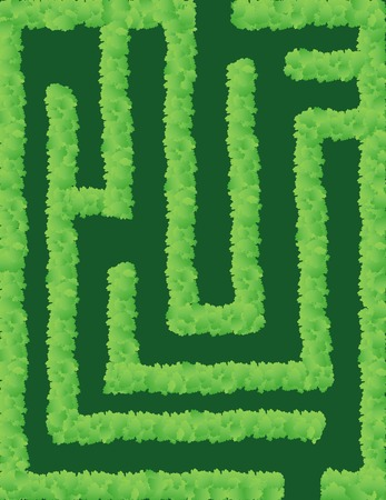 Vector illustration of a maze with a path through shrubbery Illustration