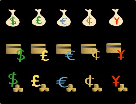 Vector based illustration of various financial objectsicons Vector
