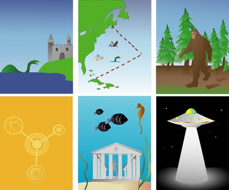 vector illustration of famous mysterious and paranormal events around the world Vettoriali