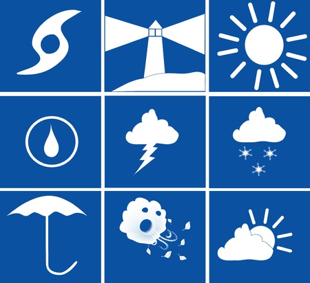 various blue and white weather icons vector illustration