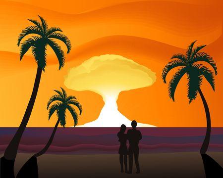 Silhouette d'un couple sur la plage observant un coucher du soleil romantique