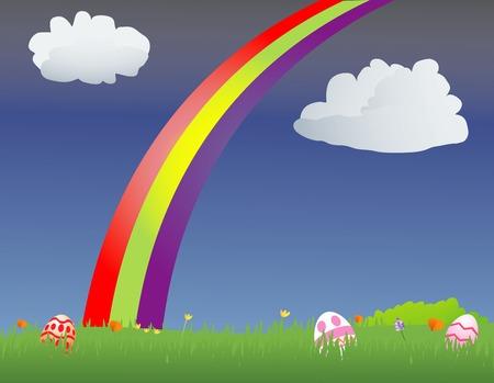 イースターエッグのフィールドに虹  イラスト・ベクター素材