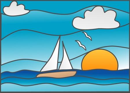Voilier dans l'océan  Banque d'images - 2571603