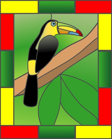 Stained Glass style Toucan in the jungle Ilustracja
