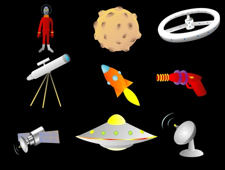 ray gun: Objects with a space or science fiction theme vector illustration